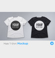white and black men s t-shirt realistic mockup vector image vector image