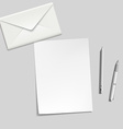 white sheet envelope pen and pencil on the table vector image