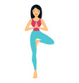 young woman practicing yoga standing in tree vector image vector image
