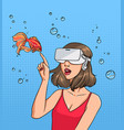 concept of virtual reality girl in 3d-glasses and