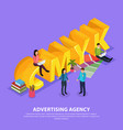 advertising agency isometric composition vector image vector image