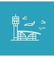 Airport building Plane is landing line vector image
