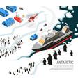 antarctica icebreaker penguins settlement poster vector image vector image