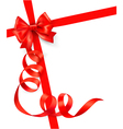 background with red gift bow and red ribbons vector image