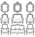 baroque furniture with luxurious ornaments set vector image vector image