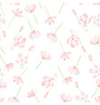 beautiful watercolor pink cosmos seamless pattern vector image