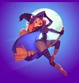 beautiful witch flying on broom in night sky vector image vector image
