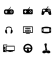 black video games icon set vector image vector image
