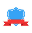 blue emblem with red ribbon banner vector image