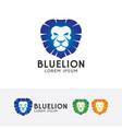 blue lion logo design vector image vector image