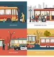 Bus Stop 4 Flat Icons Square vector image vector image