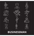 businessman editable line icons set on vector image vector image