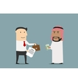businessman selling a part business to arab vector image vector image