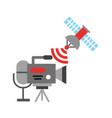 camera recorder microphone and satellite broadcast vector image