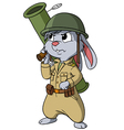 Cartoon bunny with bazooka on the white