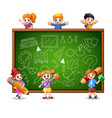 cartoon children goes to learn vector image vector image