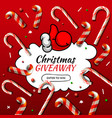 christmas giveaway template with candy cane vector image