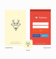 company reindeer splash screen and login page vector image