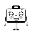 contour kawaii cute happy briefcase and medical vector image vector image
