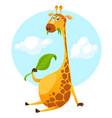 cute funny cartoon giraffe vector image vector image