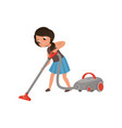 cute girl cleaning mirror cleaning the floor with vector image vector image