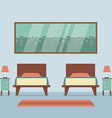 Flat Design Twin Beds Interior vector image vector image