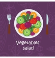 Fresh vegetables salad with olive oil on violet vector image vector image