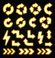 glowing yellow neon arrows set on black background vector image vector image