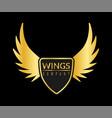 golden wing logo eagle or angel flying vector image vector image