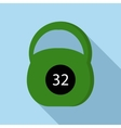 Green kettlebell icon flat style vector image