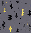 hand drawn christmas background with cute fir vector image vector image
