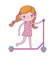 happy childrens day little girl riding scooter vector image