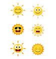 happy sun cartoon collection set vector image