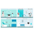 hospital rooms flat set vector image