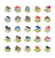 houses buildings icons vector image vector image
