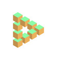 impossible triangle in three different colors 3d vector image vector image