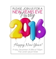 Invitation to New Year party with color balloons vector image vector image