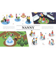isometric nanny work concept vector image vector image