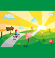kid riding bicycle vector image