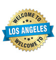 Los Angeles 3d gold badge with blue ribbon vector image vector image
