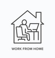 man working on computer from home line icon vector image vector image