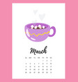 march 2018 year calendar page vector image vector image