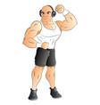 muscular man listening to music on headphones vector image