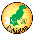 orange button with the image maps of Pakistan vector image vector image