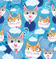 pattern funny portraits of dogs and cats vector image vector image