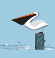 pelican on sky background vector image vector image