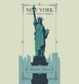 postcard with statue liberty and nyc skyline vector image vector image