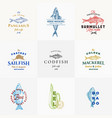 premium quality seafood signs or logo vector image vector image