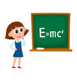 school girl answering at physics lesson vector image vector image