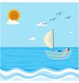 sea man floating in boat blue sky background vector image vector image